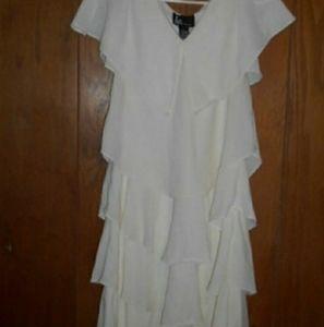 KS Selection White Graduation Ruffled Dress